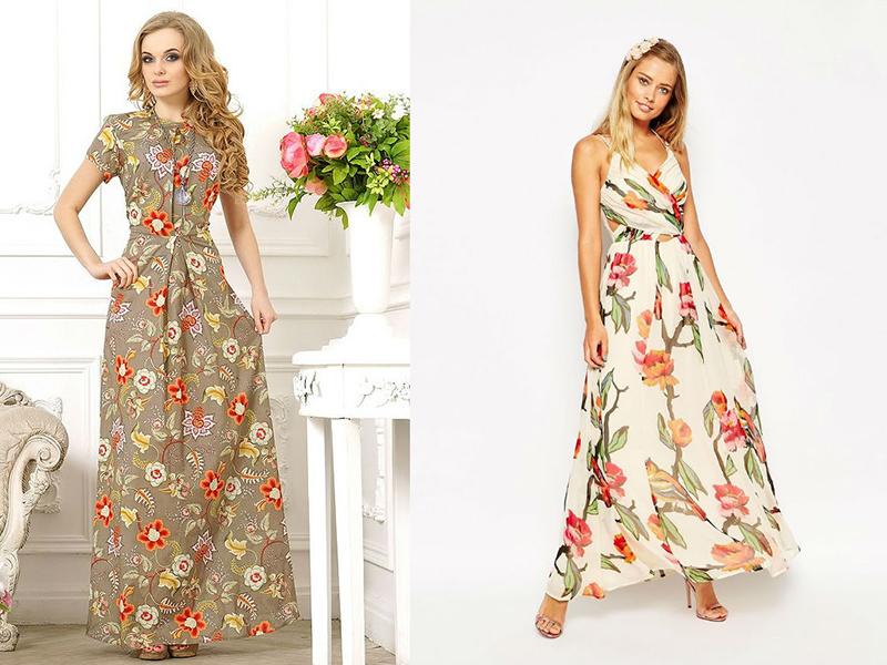 Платья пестрых цветов