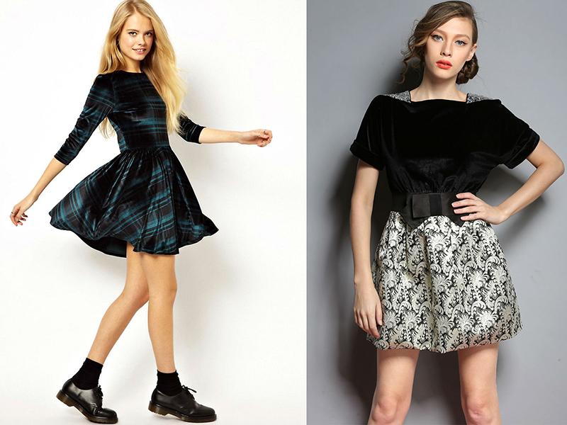 Платье из бархата модели