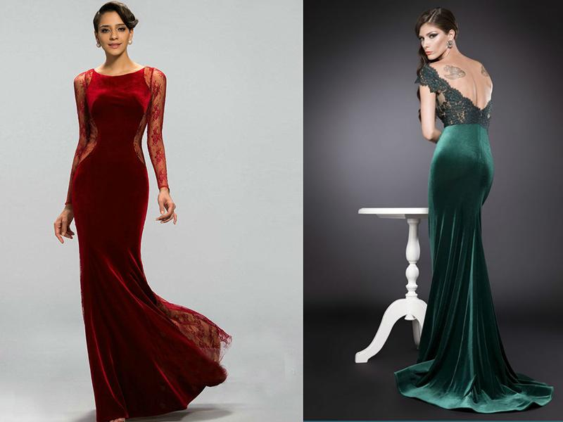 Платье из материала бархат
