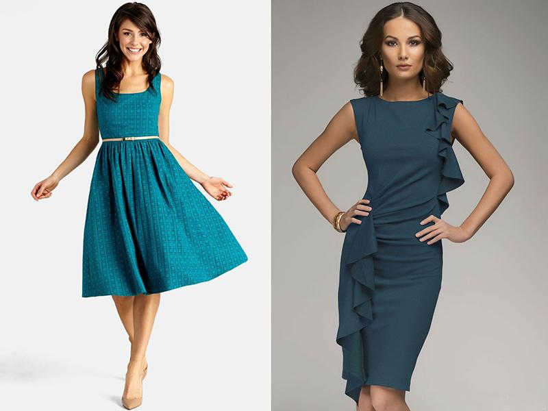 Темно-бирюзовый цвет платья