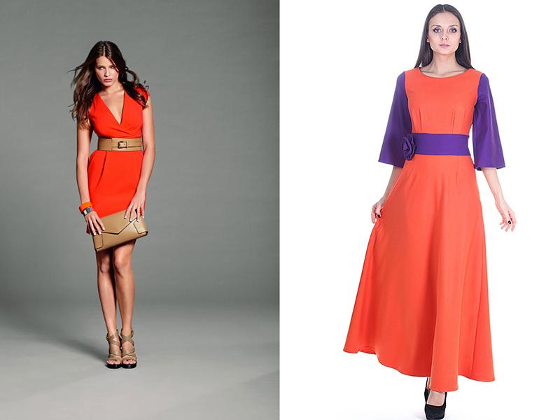 Оранжевое платье и аксессуары к нему