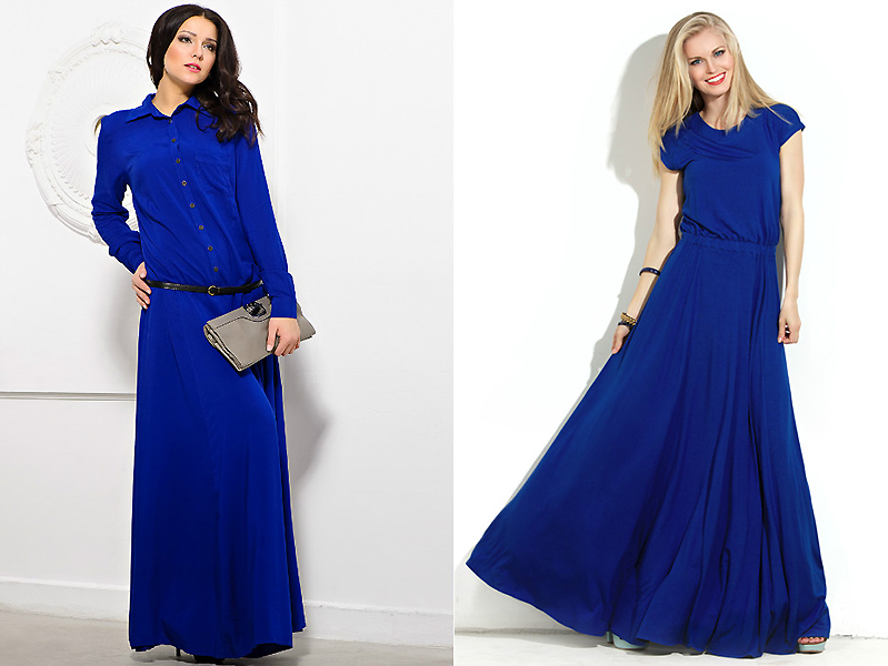 платья в пол синего цвета фото