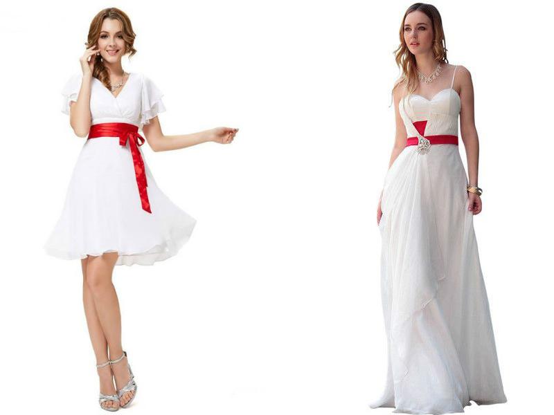Свадебные платья с красным поясом короткие