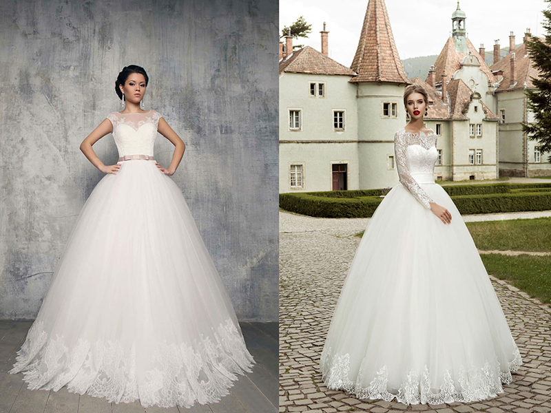 Свадебное пышное платье с кружевным верхом и рукавами