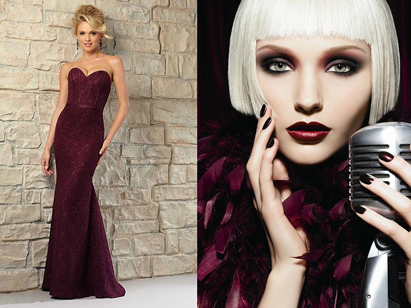 Цвет платья винный макияж