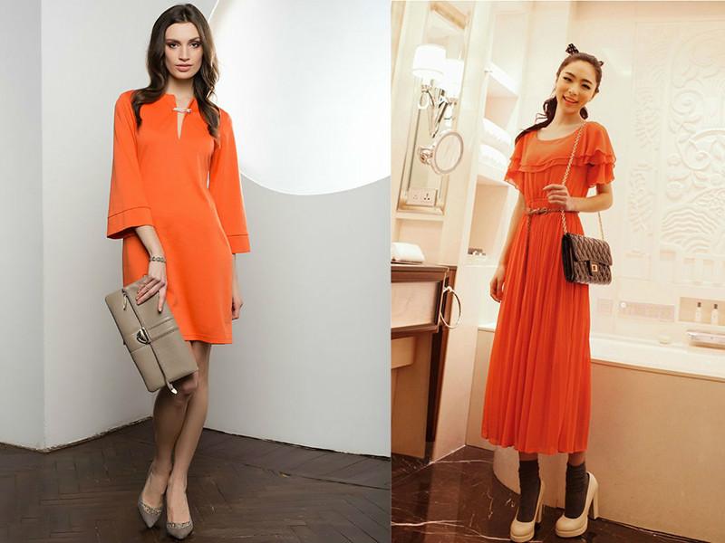 Оранжевое платье образ