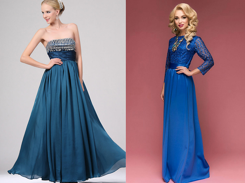 Цвет бижутерии для синего платья