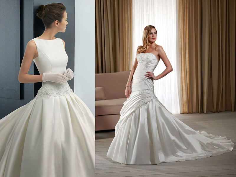 Свадебная прическа для атласного платья