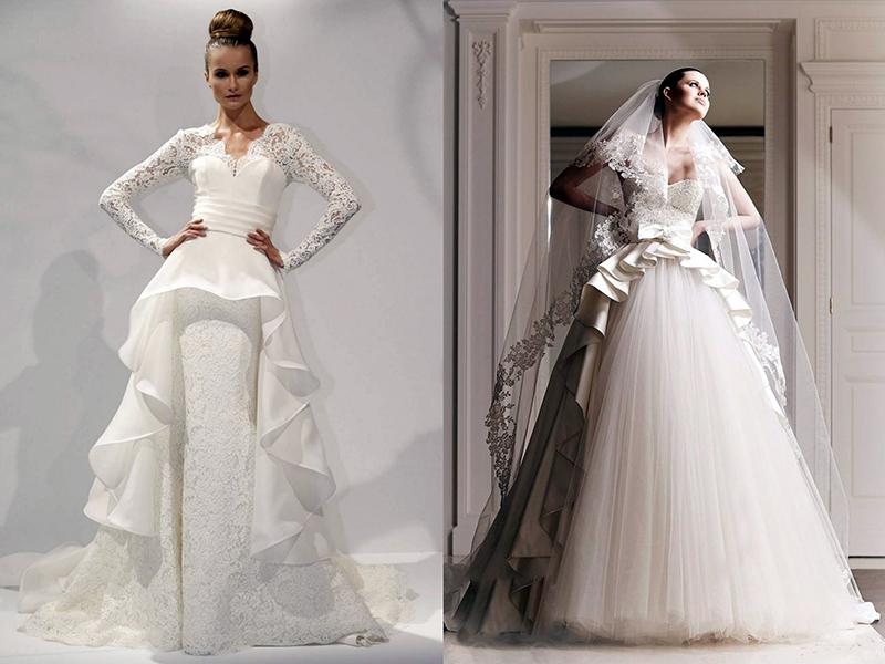 Свадебное платье с кружевом и баской