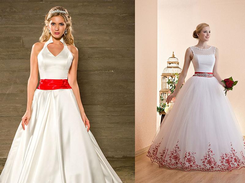 Красное яркое свадебное платье