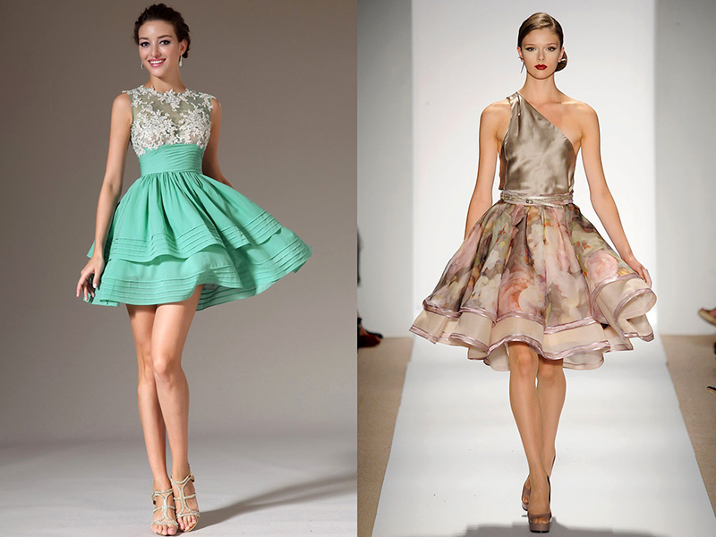 Платья с юбкой из шелка