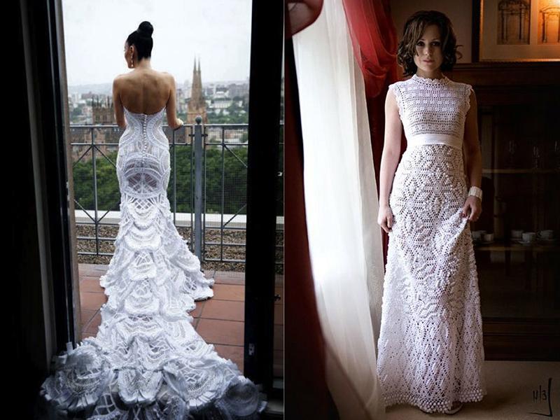 Свадебные платья крючком кружева