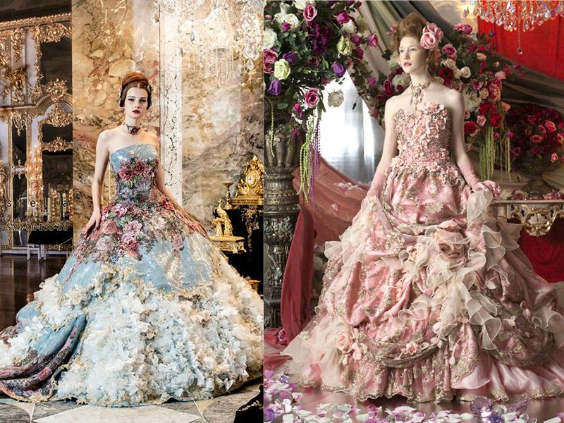Платье на свадьбу невесте цветное