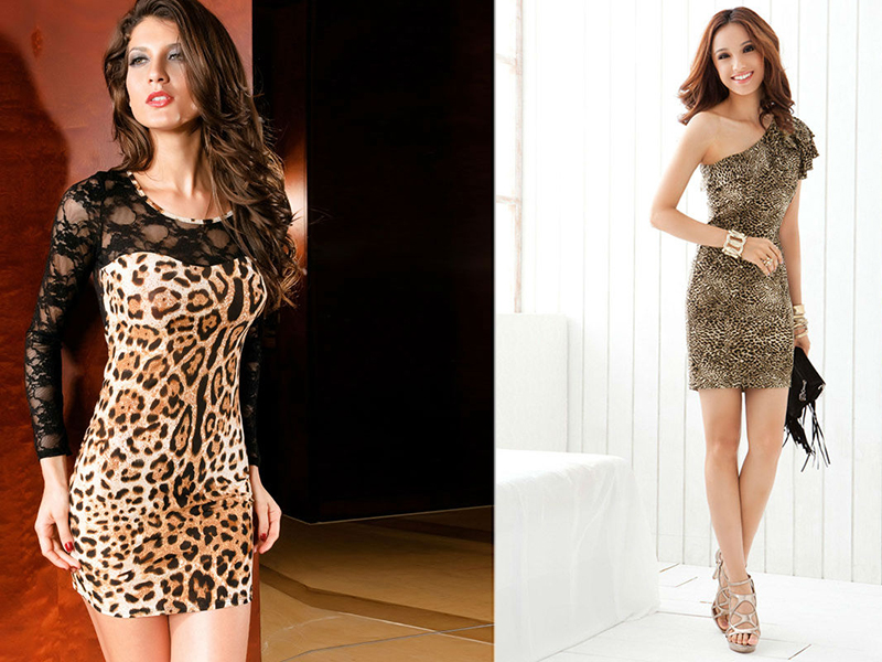 Платье из ткани леопард