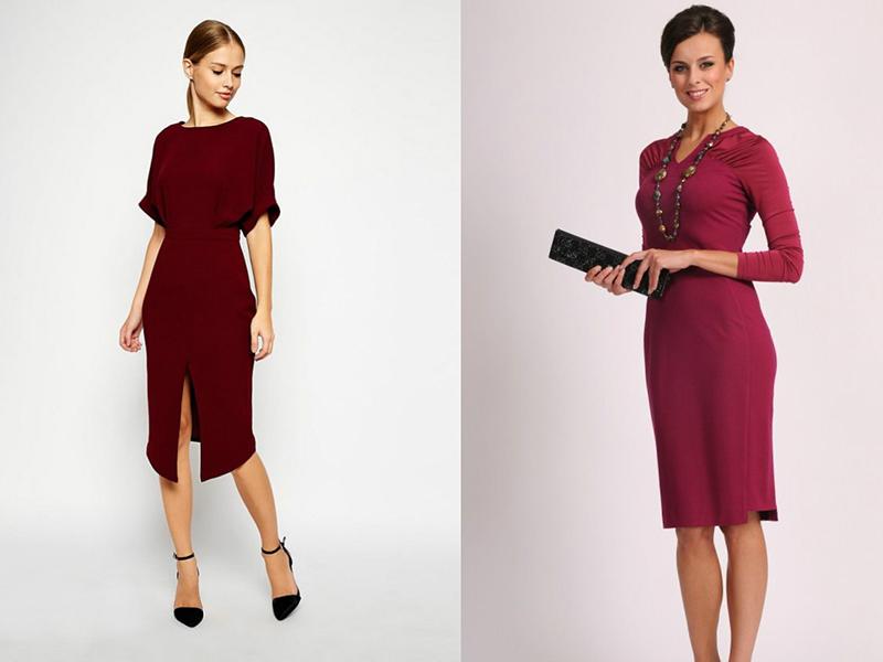 Серьги с бордовым платьем