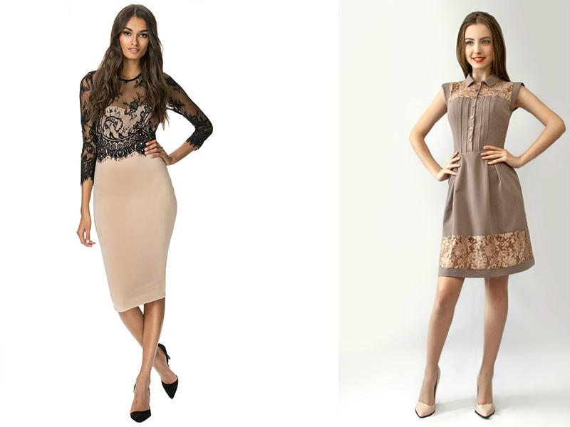Платья с кружевом вставки фото