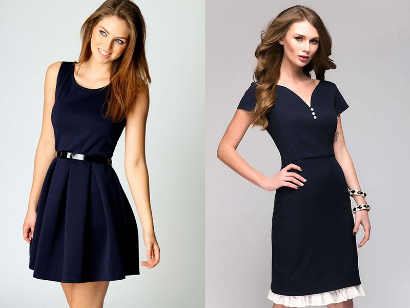 Темно синие строгие платья