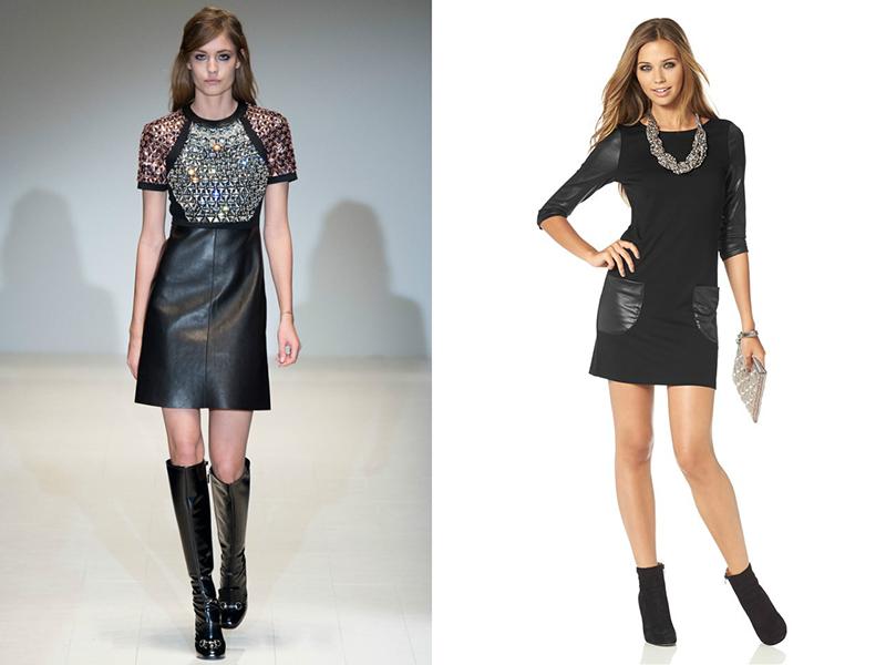 Черное платье с вставкой из кожи