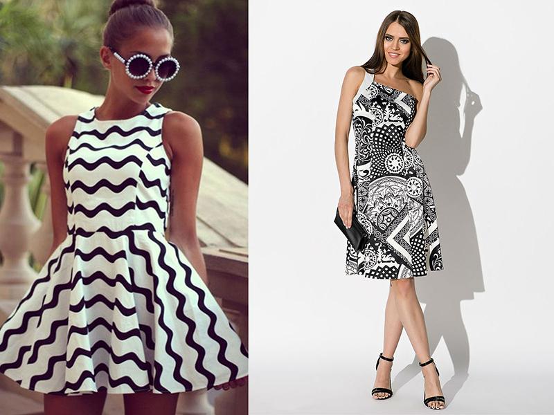 Черное с белым узором платье