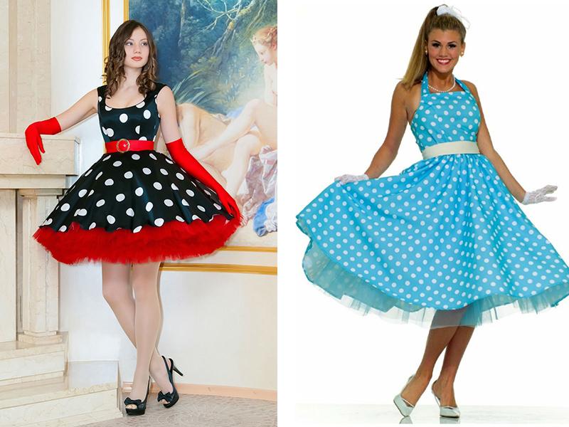 Платье в горох в стиле стиляг