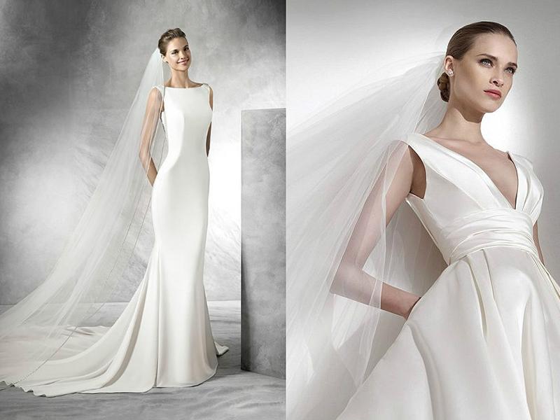 Атласные свадебные платья с фатой