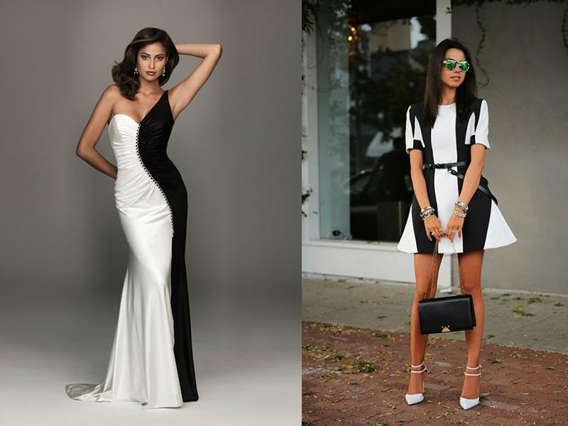 Черно-белое платье с чем одеть