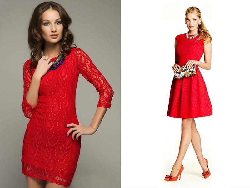 Золотые украшения с красным платьем