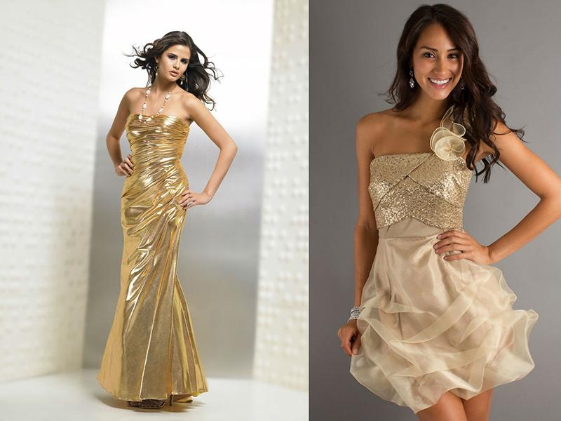 Золотого цвета платья