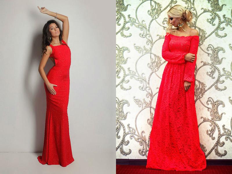 Красное платье в пол фасоны