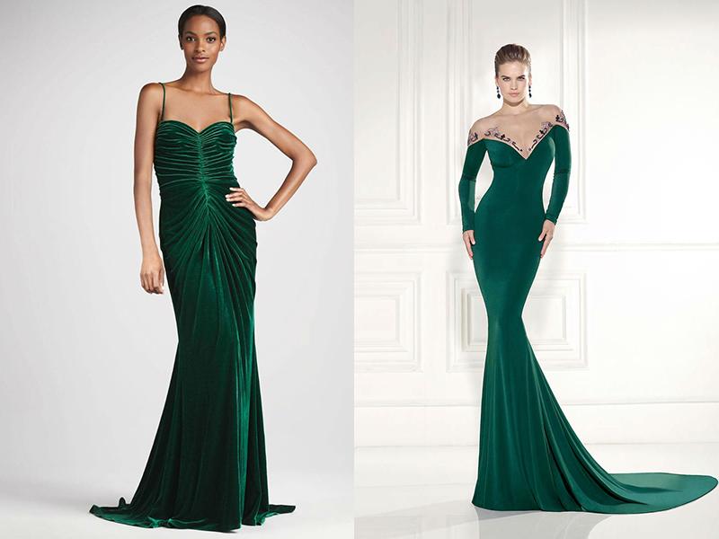 Зеленое платье из атласа