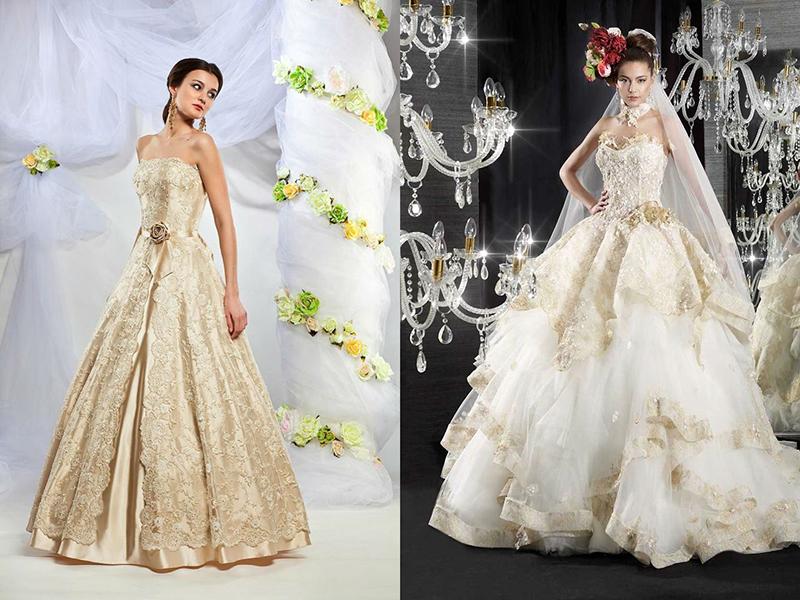 Купить Свадебное Золотое Платье