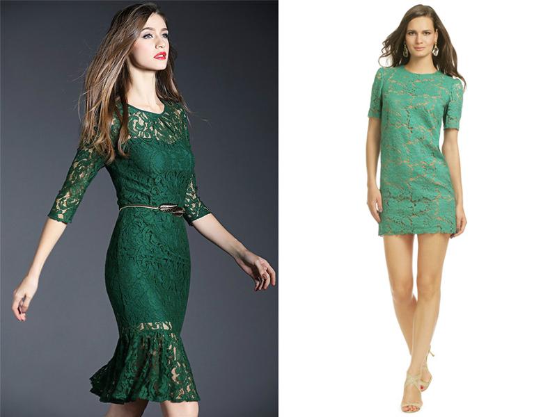 Платья из гипюра зеленого цвета