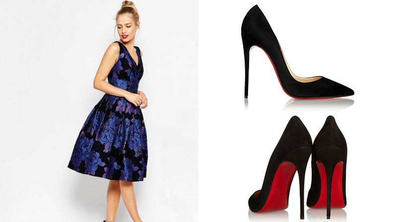 Фото платьев с туфлями на высоком каблуке