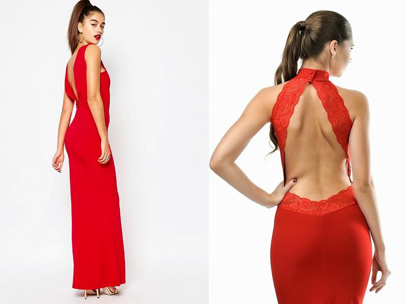 Красное платье на лямках до колен