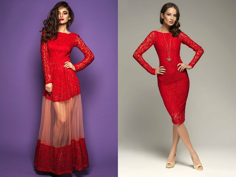 Фото красное кружевное платье в пол