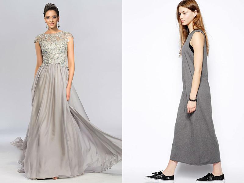 Фото серое платье в пол с
