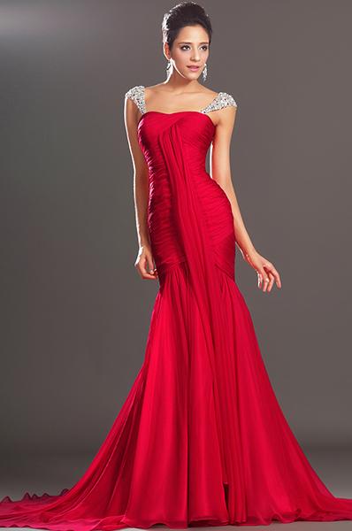 Вечерние платья красного цвета в пол с камушками