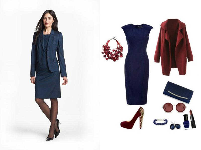 Образ синее платье футляр
