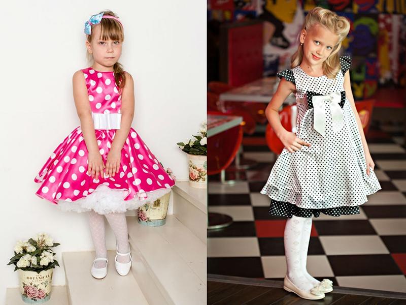 Детские платья для девочек нарядные в горошек