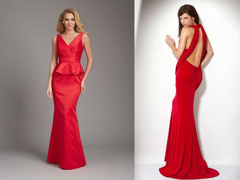 Фасон красного платья в пол