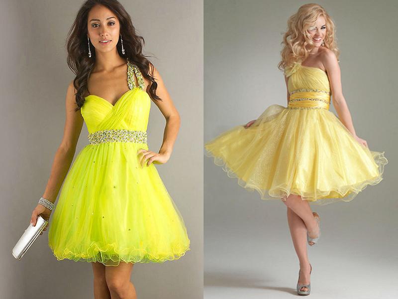 Желтое платье со стразами