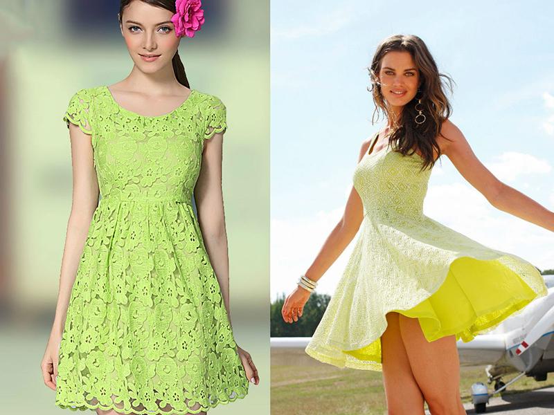 Зеленое платье и кружевные рукава