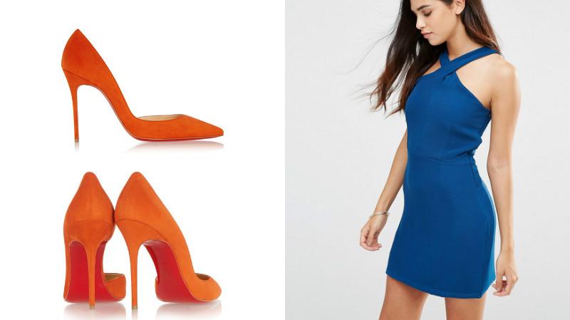 Синие туфли и оранжевое