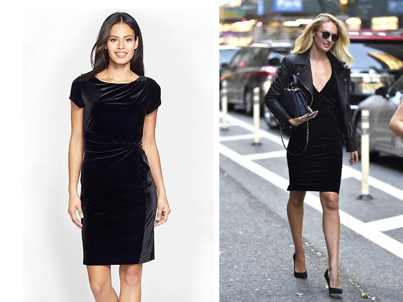 Что носить с черным бархатным платьем