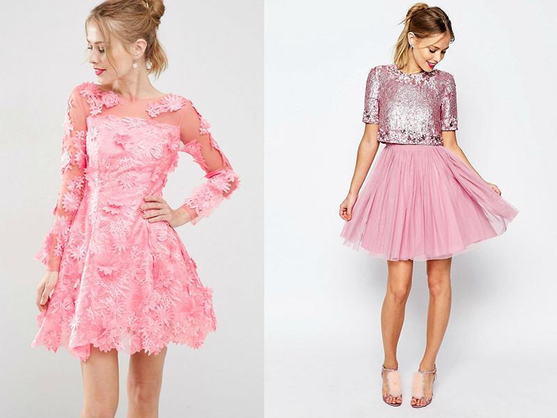 Платье с пышной юбкой розовое