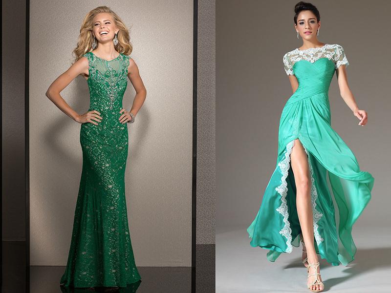 Темно зеленое кружевное платье в пол