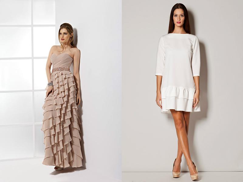 Платье с воланами на юбке и рукавах