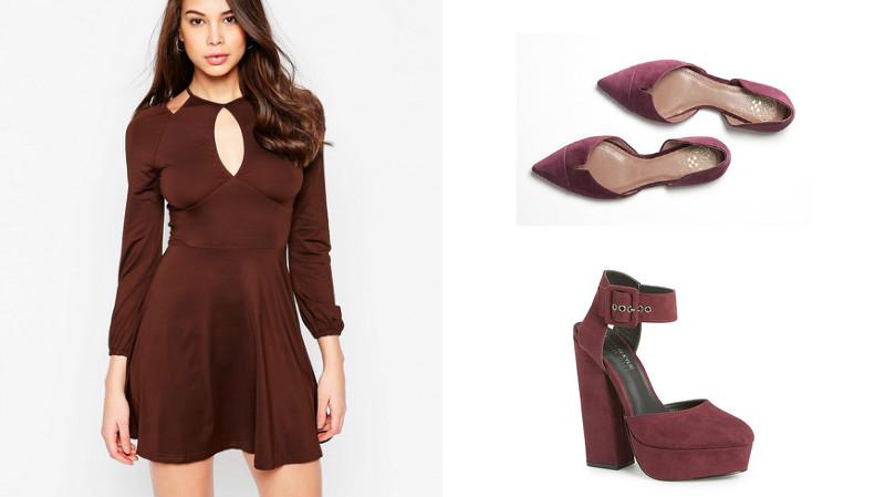 Цвет туфель к коричневому платью