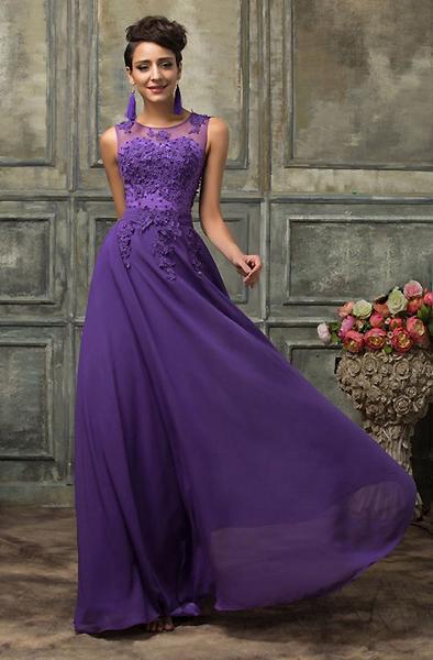 Платья в пол сиреневого цвета