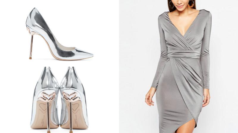 Туфли к платью серебристого цвета